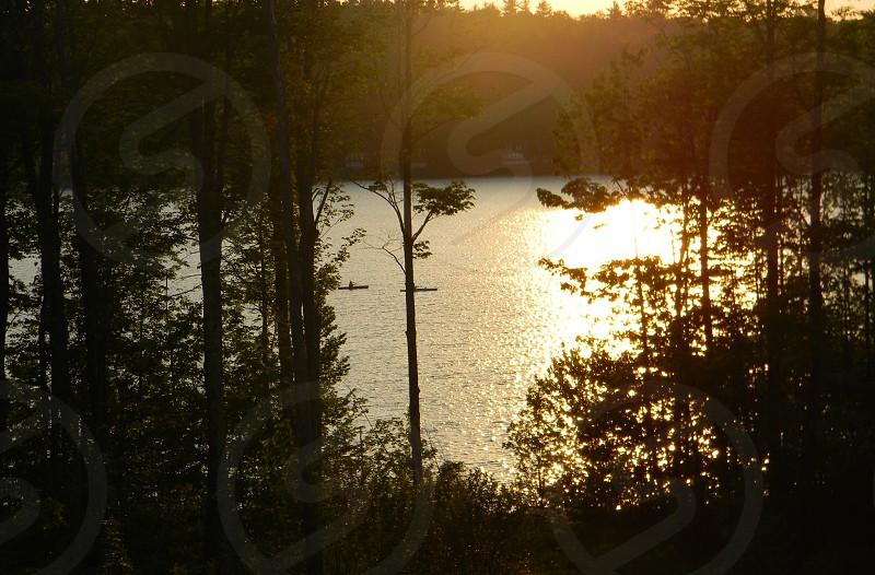 Maine lake canoeing sunset photo