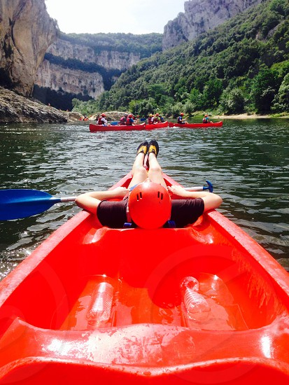 Canoeing on the Ardeche in France photo