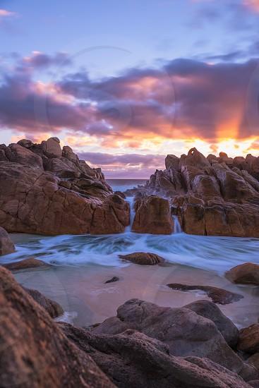Injidup Natural Spa in Western Australia at sunset photo