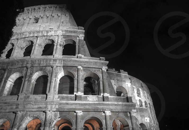 grayscale photography of coloseum photo