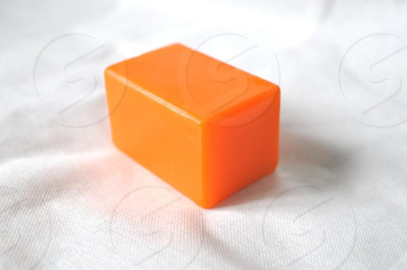 Orange bar of soap photo