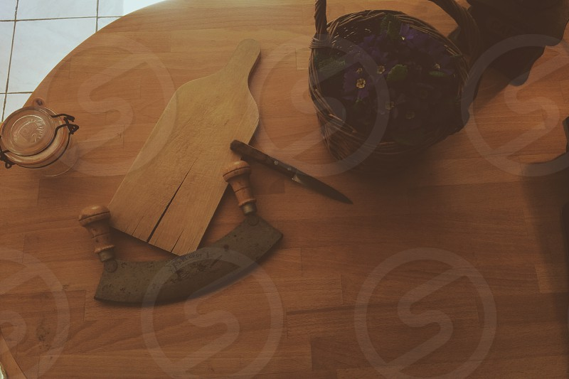 brown wooden two handle saw  photo