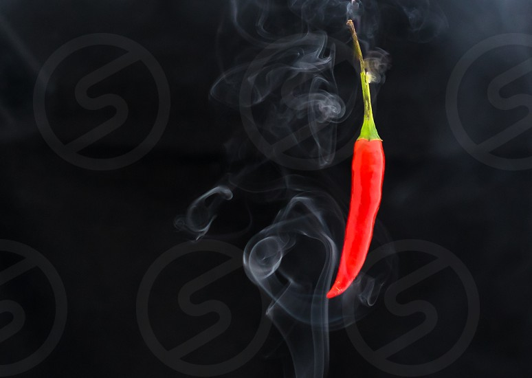 A smoking hot red chilli. photo