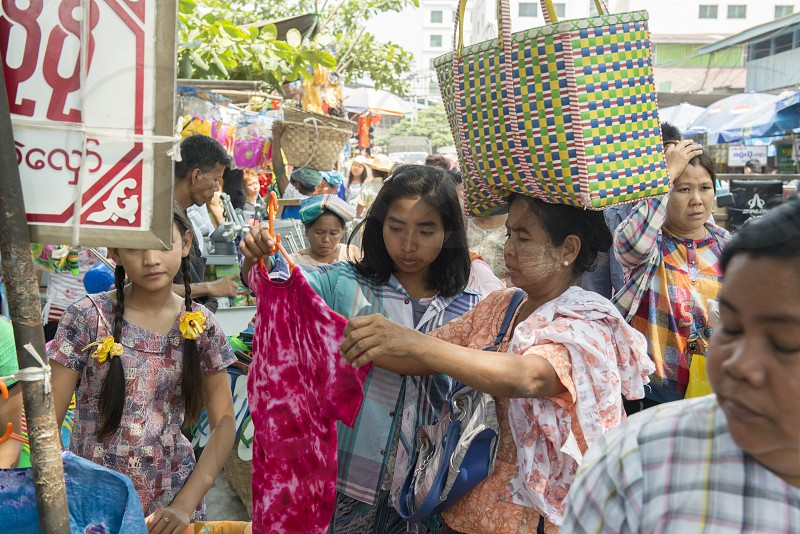 a shop at a marketstreet in the City of Mandalay in Myanmar in Southeastasia. photo