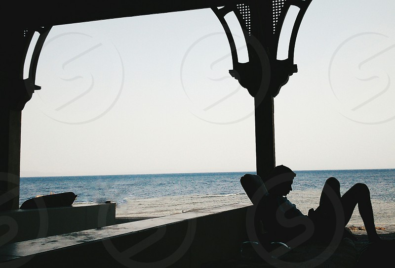A man relaxing over the beach Dahab. photo