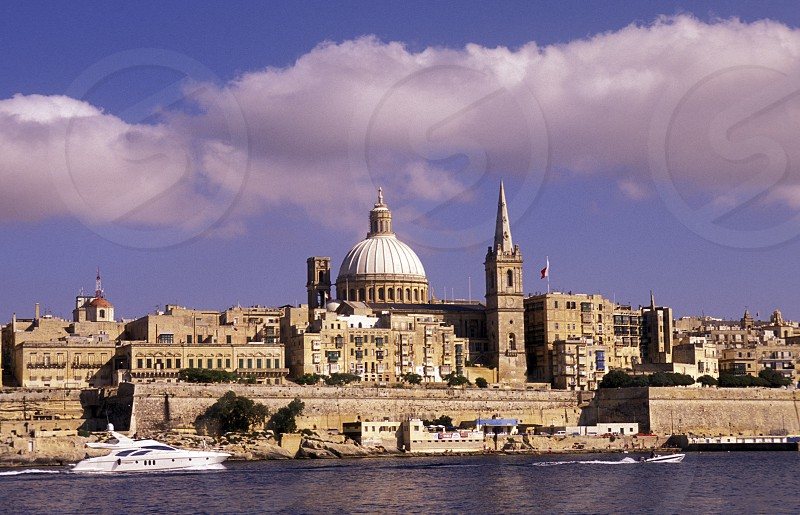 The St Paul Anglikan Cathedral at the Grand Harbour in the City of Valletta on Malta in Europe. photo