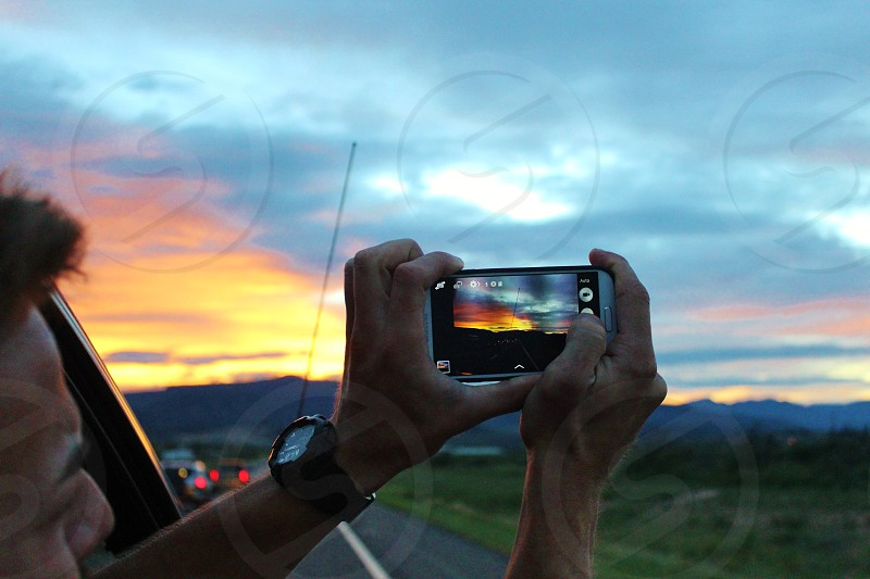 Capturing a sunset on the go! photo