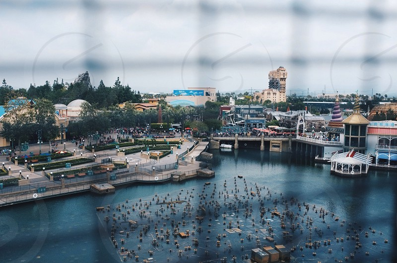 view of sea port from fence photo