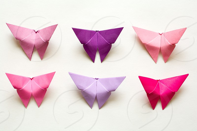 Origami Japanese paper butterflies photo