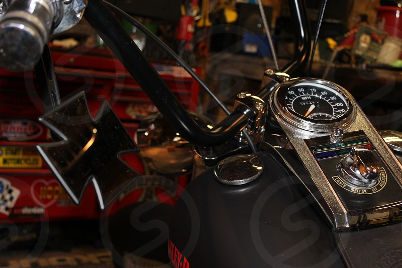 Motorcycle handlebars tank and mirrors gauges. photo