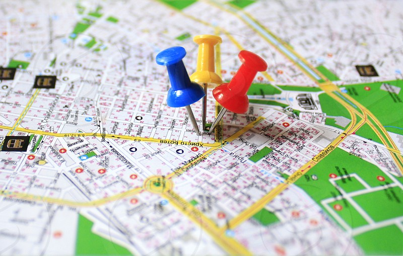 Pins on part of the map of Sofia Bulgaria. photo
