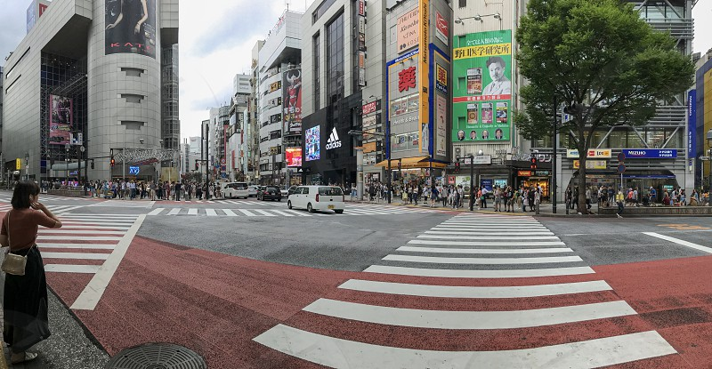 Outdoor day landscape horizontal Panoramic colour Shibuya Tokyo Japan Japanese East Eastern Orient Far East urban city skyscrapers futuristic modern commercial sales retail shops signs signage travel tourism tourist wanderlust summer Architecture busy bustling advertising billboards bright vibrant vivid colourful pedestrian crossing crosswalk crazy lady girl road transport transportation photo