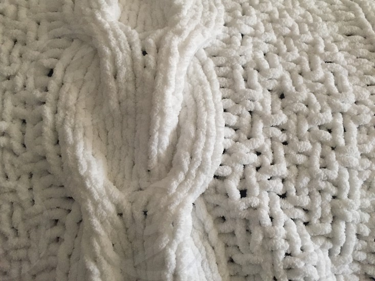 white knitted fabric photo
