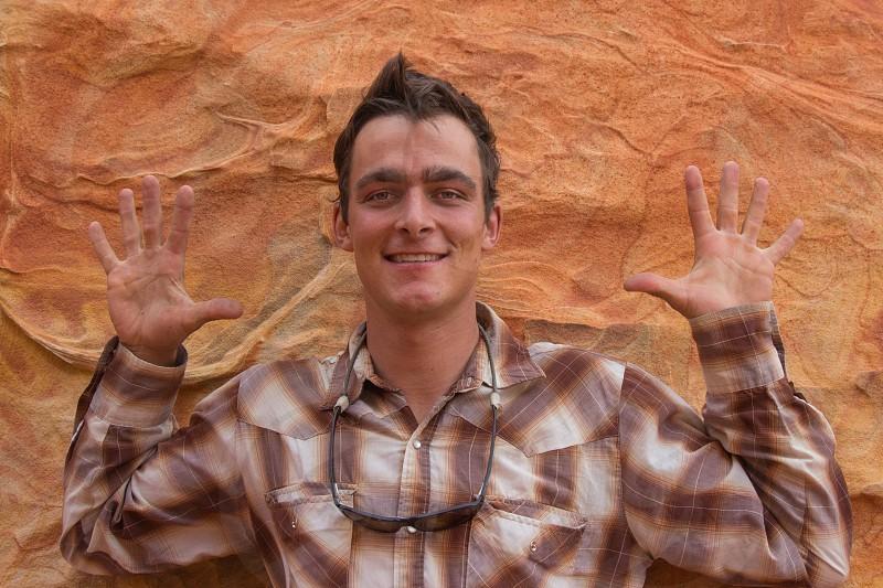 ten fingers portrait excitement innocent hands smile photo