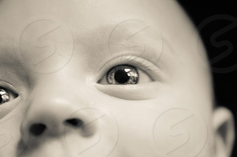 Baby eye in black and white photo