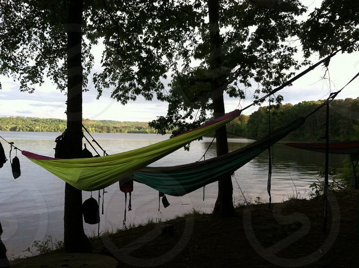 green hammock near lake photo