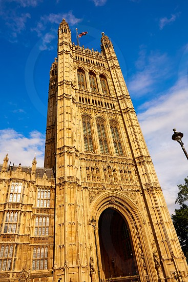 Westminster tower near Big Ben in London england photo