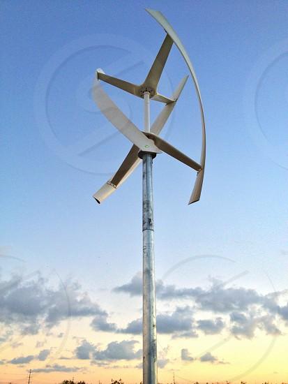 Modern windmill wind turbine early morning photo
