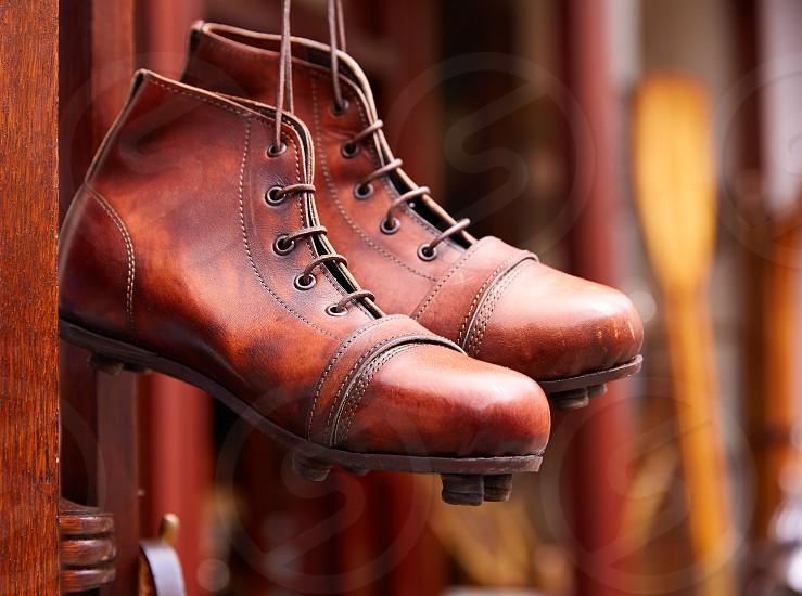 London Portobello road Market leather boots in UK England photo