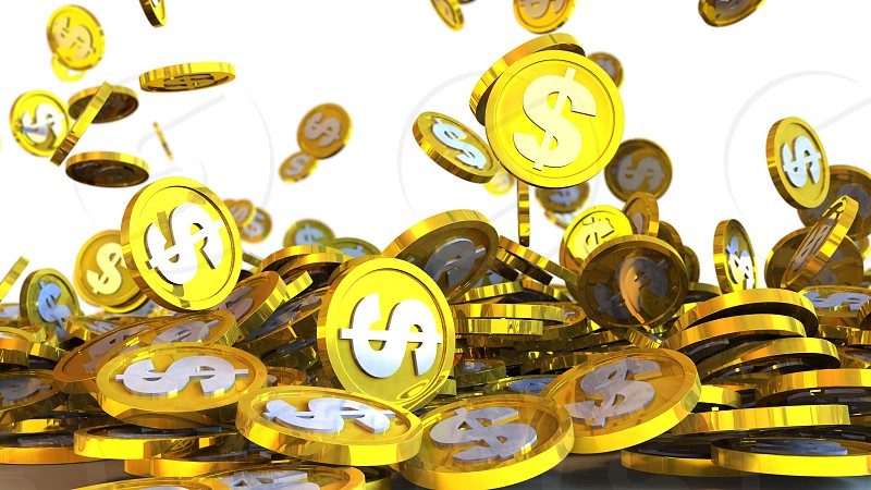 3D illustration of dollar coins falling on a white background photo