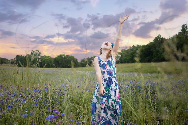 white and blue and pink floral print sleeveless maxi dress photo