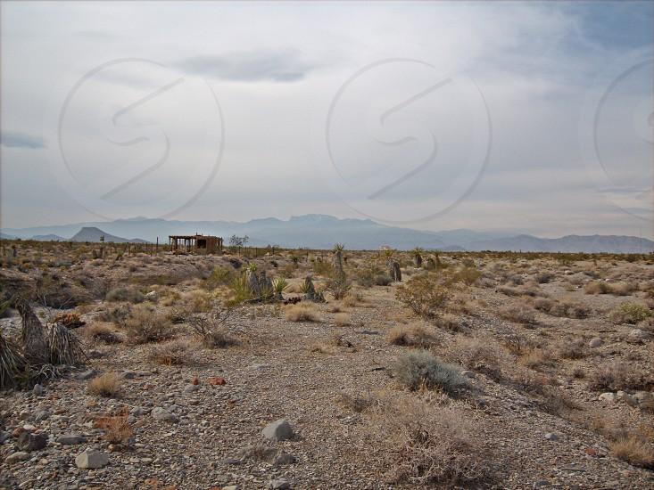 Desert old shack brown blue photo