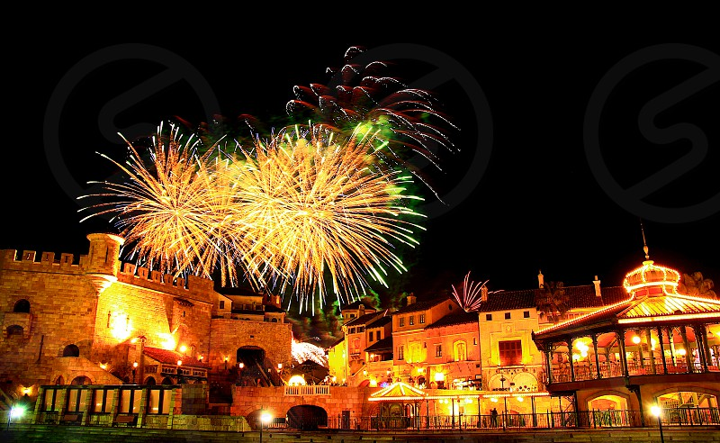 'Fireworks over city' (3)  Fireworks Fireworks over city New Year City European buildings Castle Sparkling Shinning Colorful Night view Horizontally long Laterally long Oblong photo