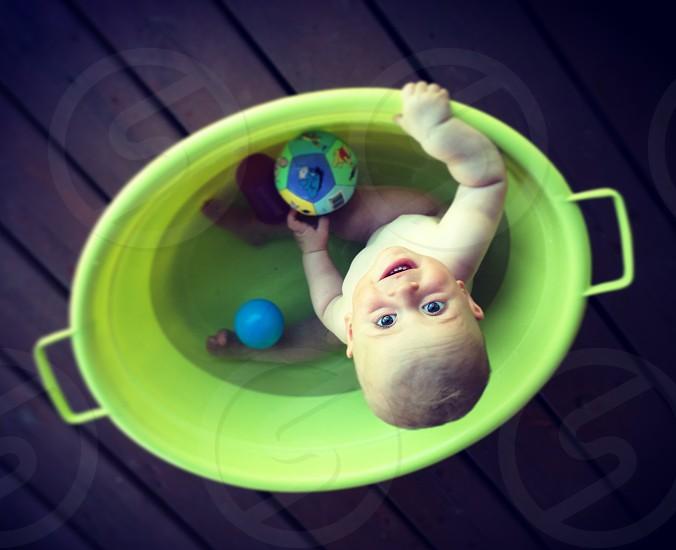 Baby bath summer play time photo