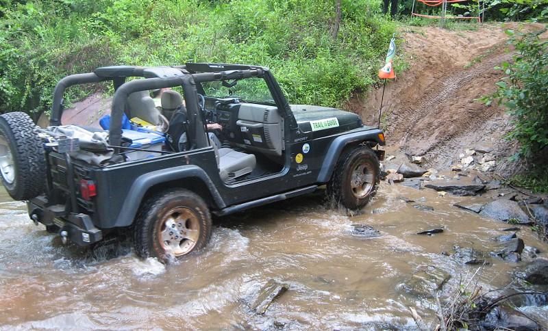 Jeep Wrangler fording river photo