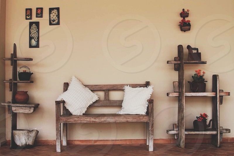 wooden bench photo