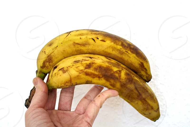 The characteristics of banana tha are bruised and old. photo