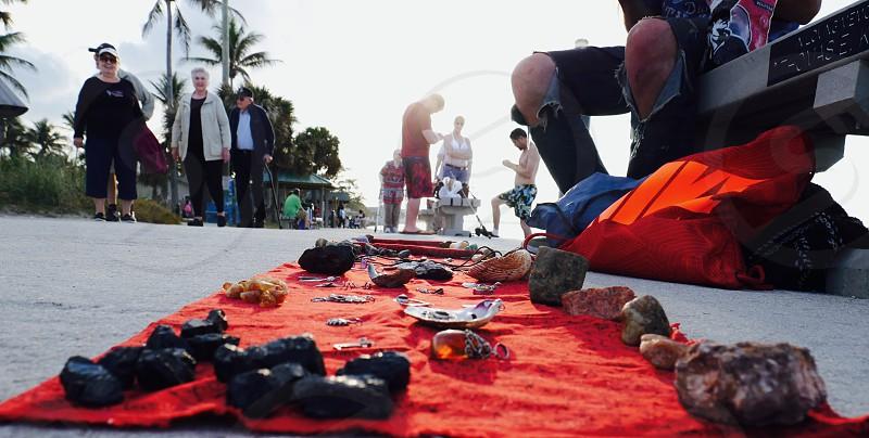 Assorted rocks and shells on display. photo