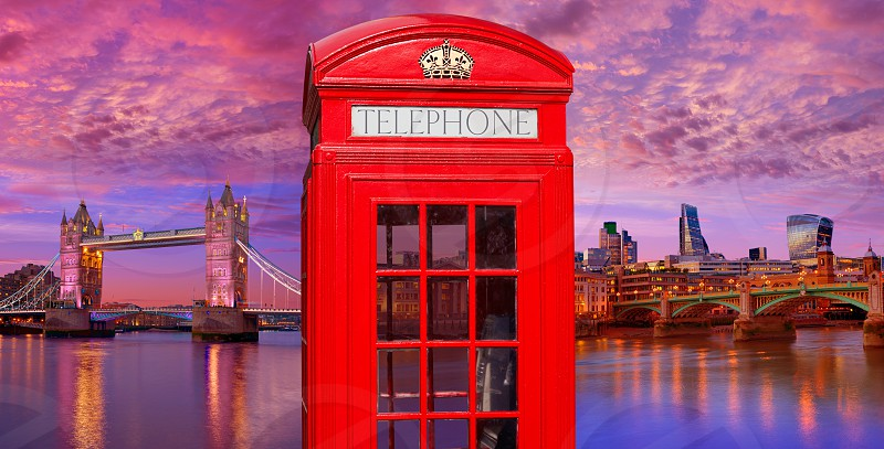 London photomount with telephone box and Tower Bridge photo