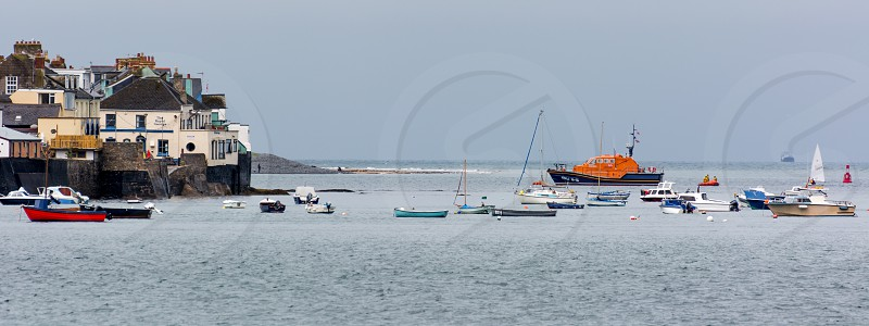 Boats moored off Appledore in  Devon photo