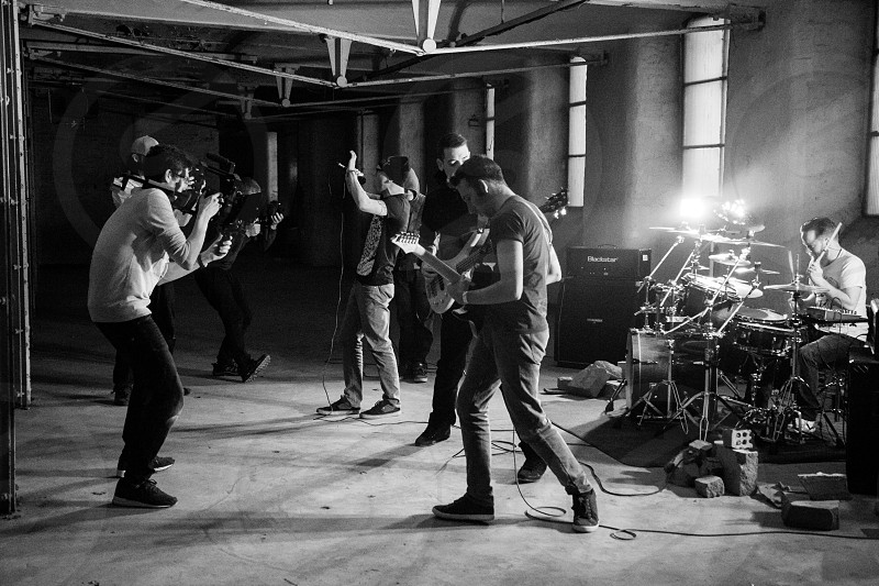 Joshua Leo Dorfman & crew filming Centiment's first music video in a dusty Manchester warehouse. photo