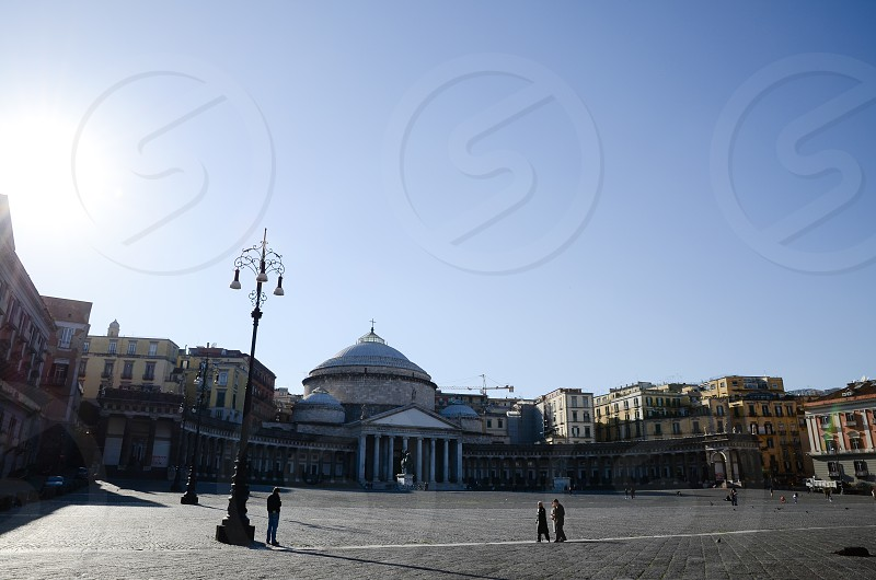 Piazza del Plebiscito and San Francesco di Paola Cathedral  Naples Italy photo