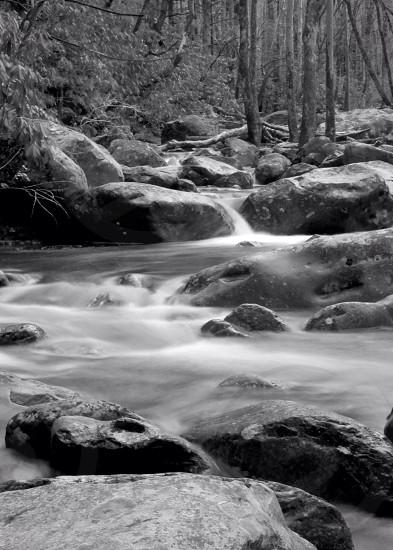 water flow over rocks photo