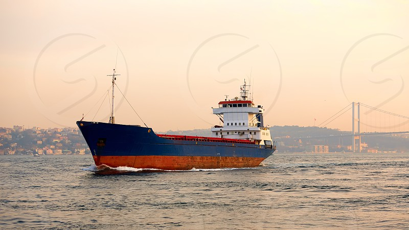 A cargo ship in the Bosphorus Istanbul Turkey photo