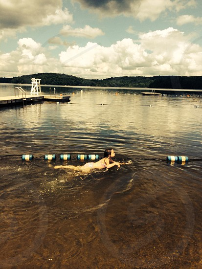 Swimming in the Adirondacks.  photo