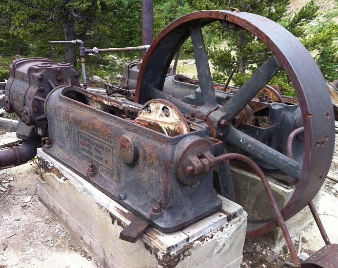 mining rusty wheel industrial metal photo
