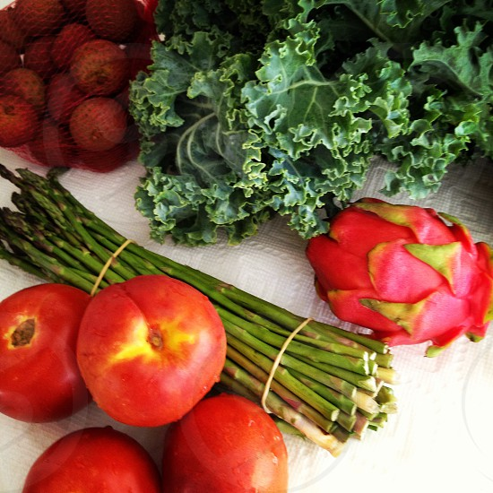 vegetables fruit tomatoes dragon fruit kale lychee photo