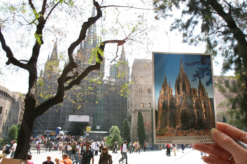 La Cathedral in Barcelona Spain. Progress repair renovation post card before after fix update history preserve. photo