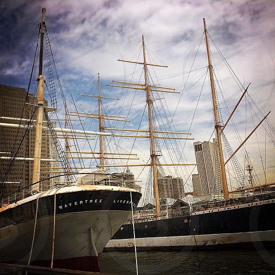 tall ships at city dock photo