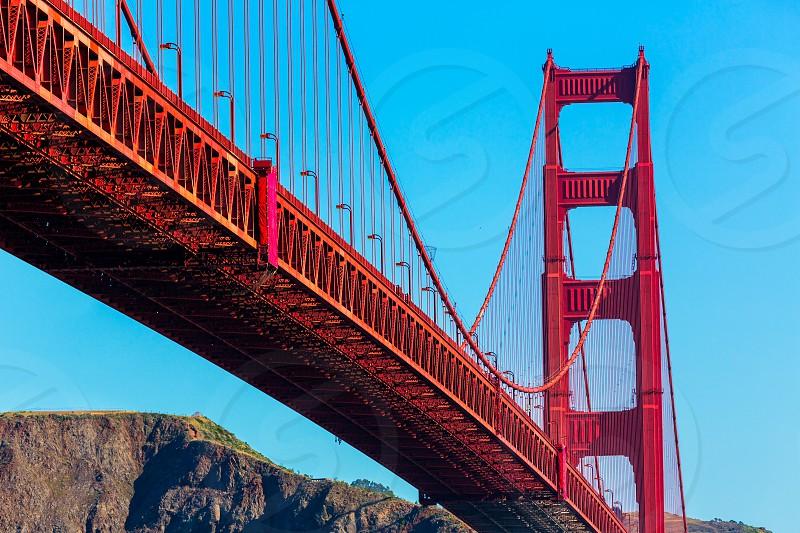 Golden Gate Bridge San Francisco from Presidio in California USA photo