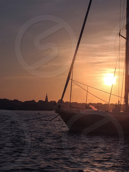 Sailboat sunset Nantucket summer New England harbor marine photo