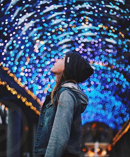 Blue girl jacket explore love cute fun colorful colors winter tunnel stars lights photo