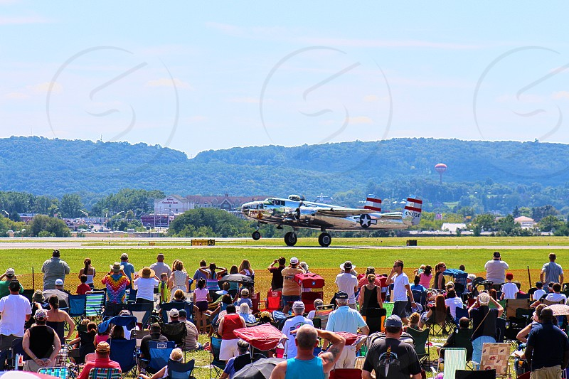 Airplane taking of at airshow. photo