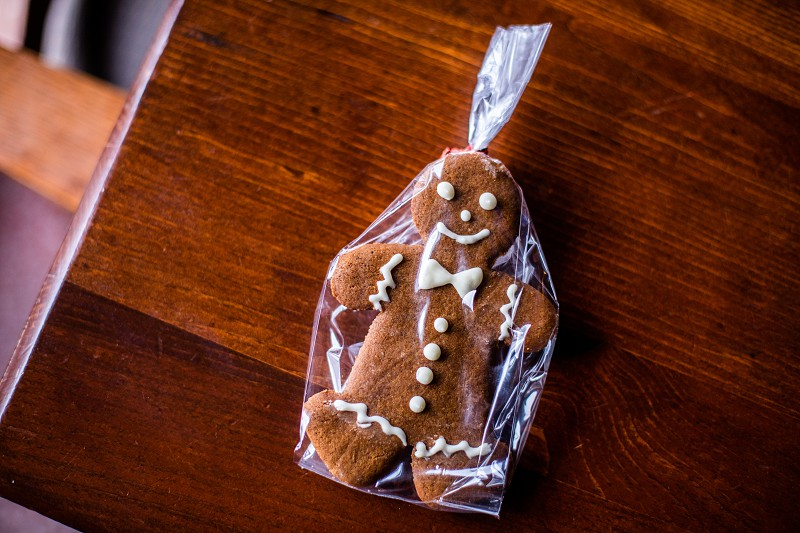 Gingerbread man cookie at Christmas photo