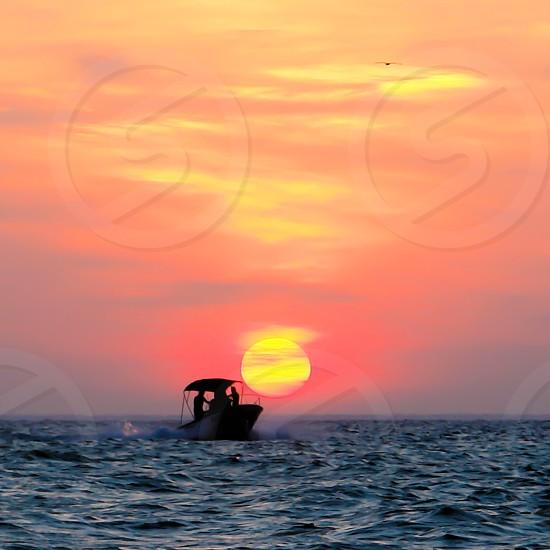 Summer sunset at a Yucatan peninsula beach  photo