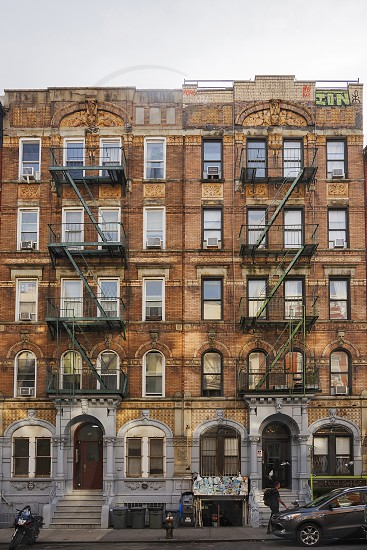 """New York november 2016: New York City brownstone tenement block located at 96 and 98 St. Mark's Place used for Led Zeppelin's """"Physical Graffiti"""" front cover photo"""